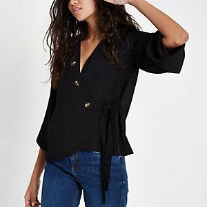 Black wrap button blouse