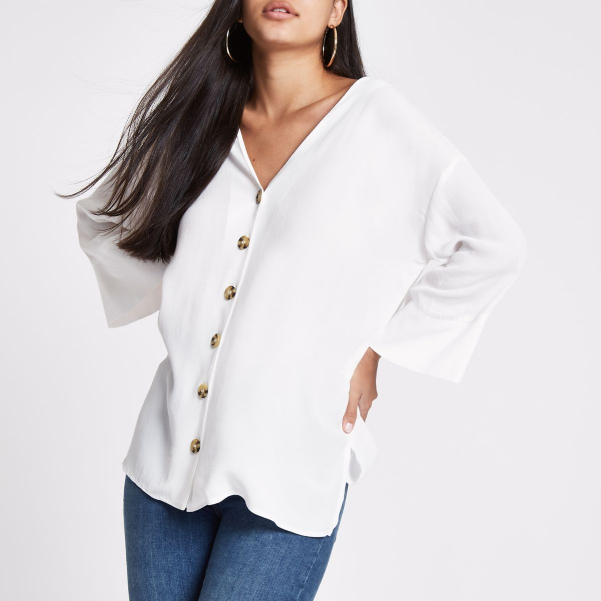 White button front bar back blouse