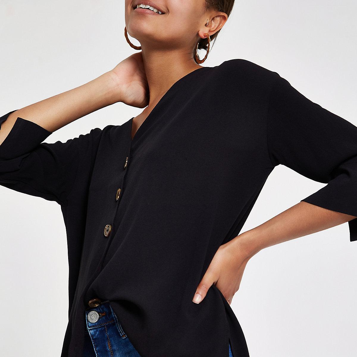 Black button front bar back blouse