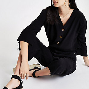 Black button through blouse