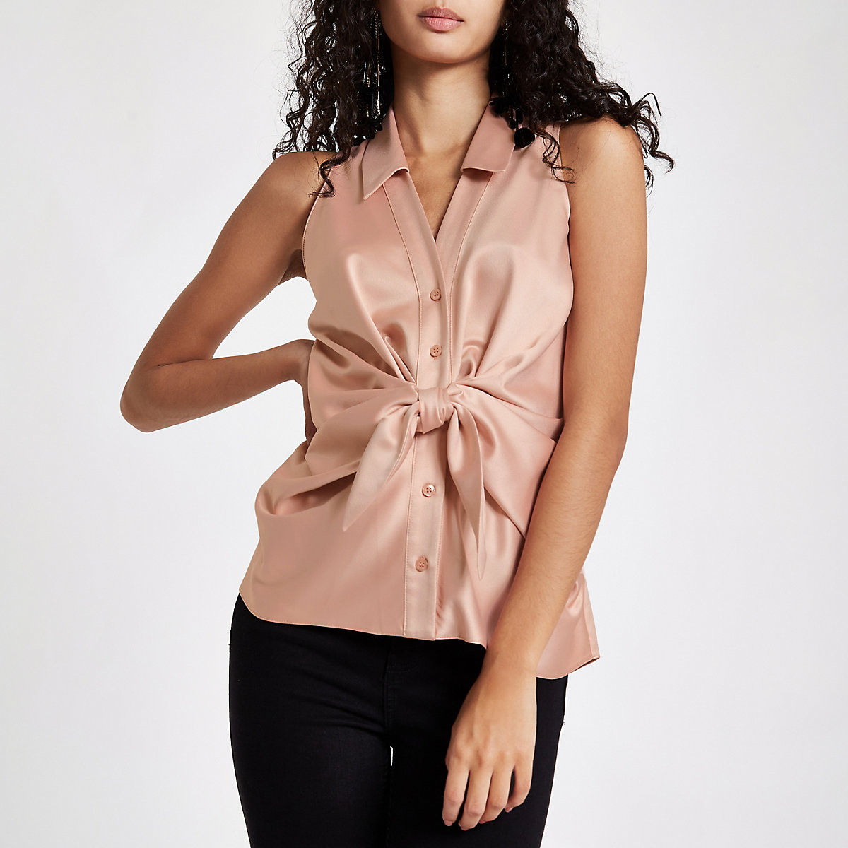 Pink twist front sleeveless top