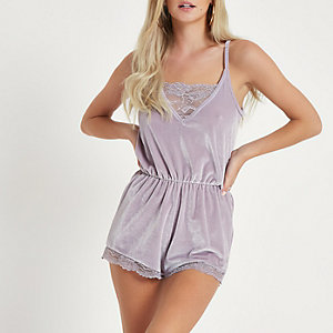 Petite grey lace trim loungewear playsuit