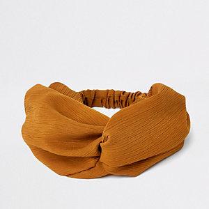 Bruine brede gedraaide haarband