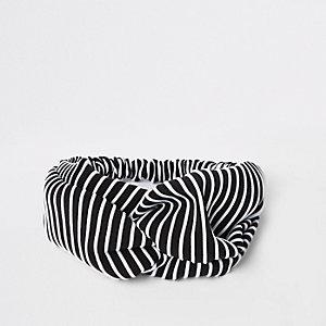 Zwart geknoopte hoofdband met streepprint