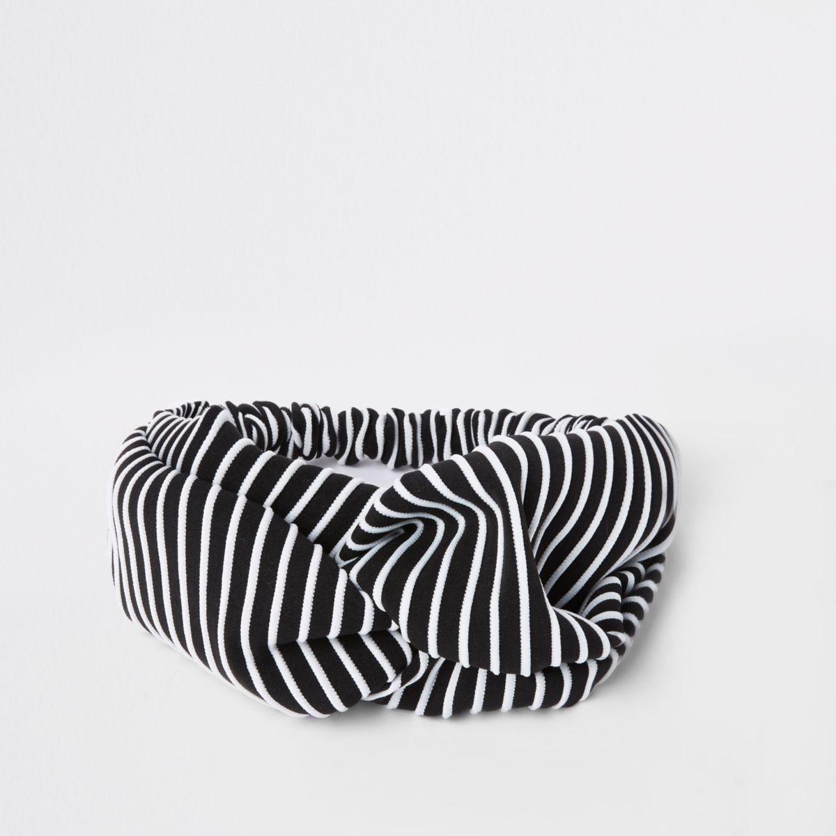 Black stripe print knot head band