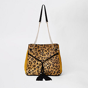 Black Leopard Print Drawstring Chain Bag