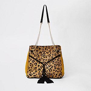 Sac imprimé léopard noir à cordon et chaîne