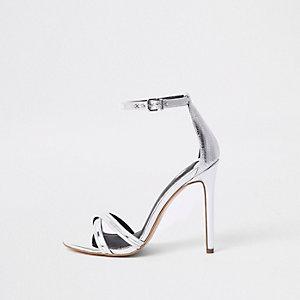 Sandales minimalistes argentées métallisées