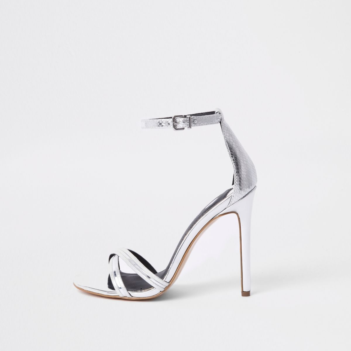 ​Silver metallic barely there sandals​