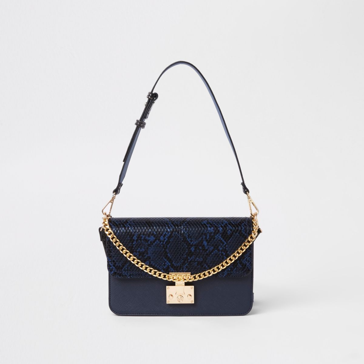 Navy lock front snake embossed underarm bag