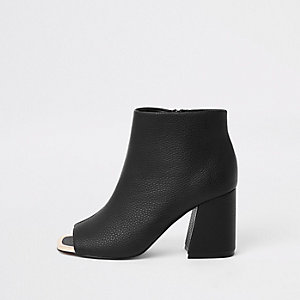 Black faux leather open toe shoe boots
