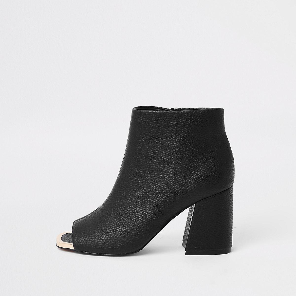 Black faux leather open toe shoe boots
