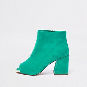 Dunkelgrüne Shoe Boots mit Peeptoe