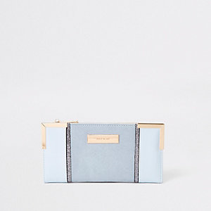 Blue textured panel slim foldout purse