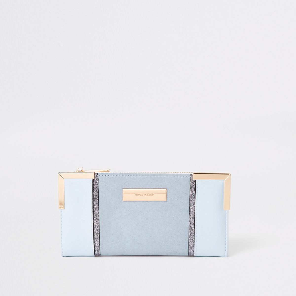 Blue textured panel slim foldout purse