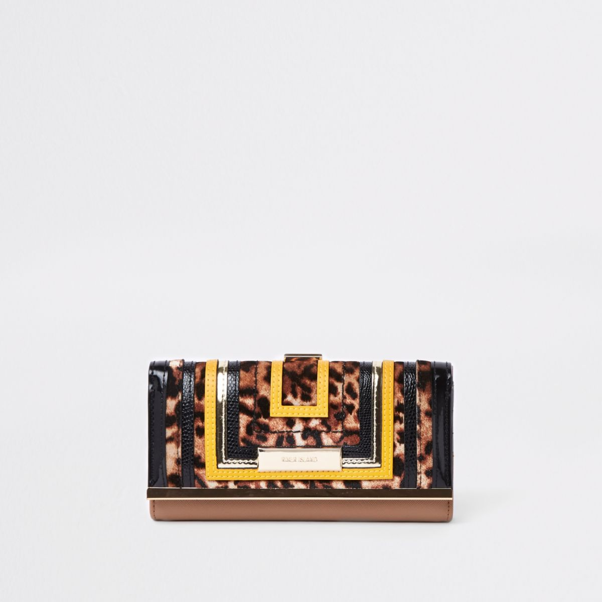 Beige leopard print cutabout clip top purse