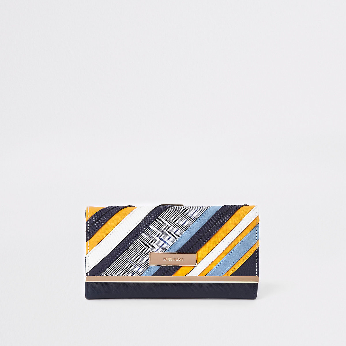 Blue mixed print cutabout clip top purse