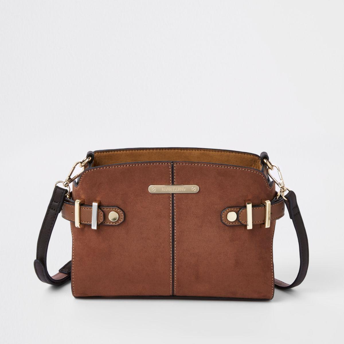 Brown tab side cross body bag