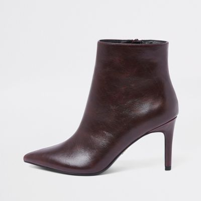 Burgundy Pointed Thin Heel Boots by River Island