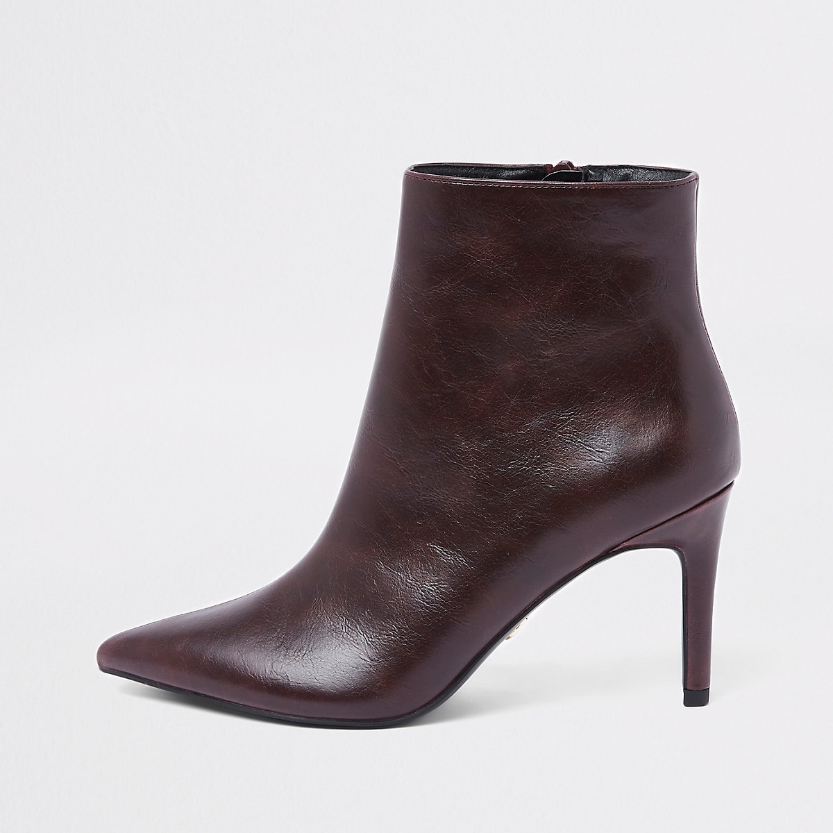 Burgundy pointed thin heel boots