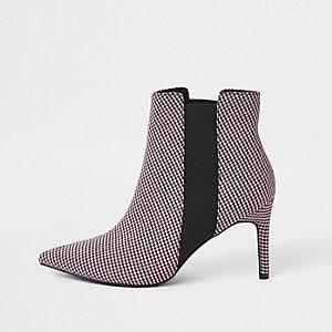 Rode geruite puntige smalle laarzen met vierkante hak