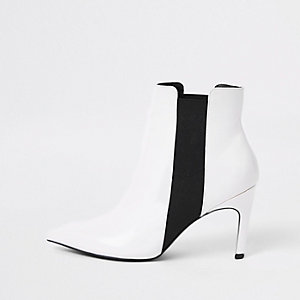 White elastic stiletto heel boots