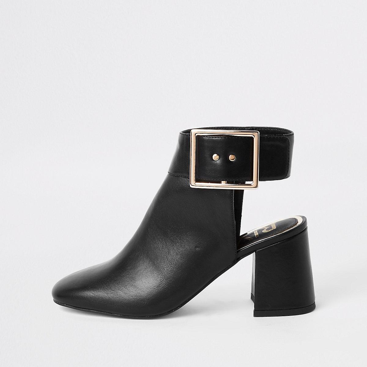 Black open back shoe boots