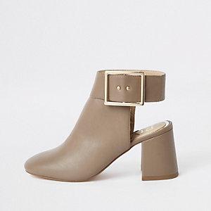 Grijze schoenlaarsjes met open achterkant