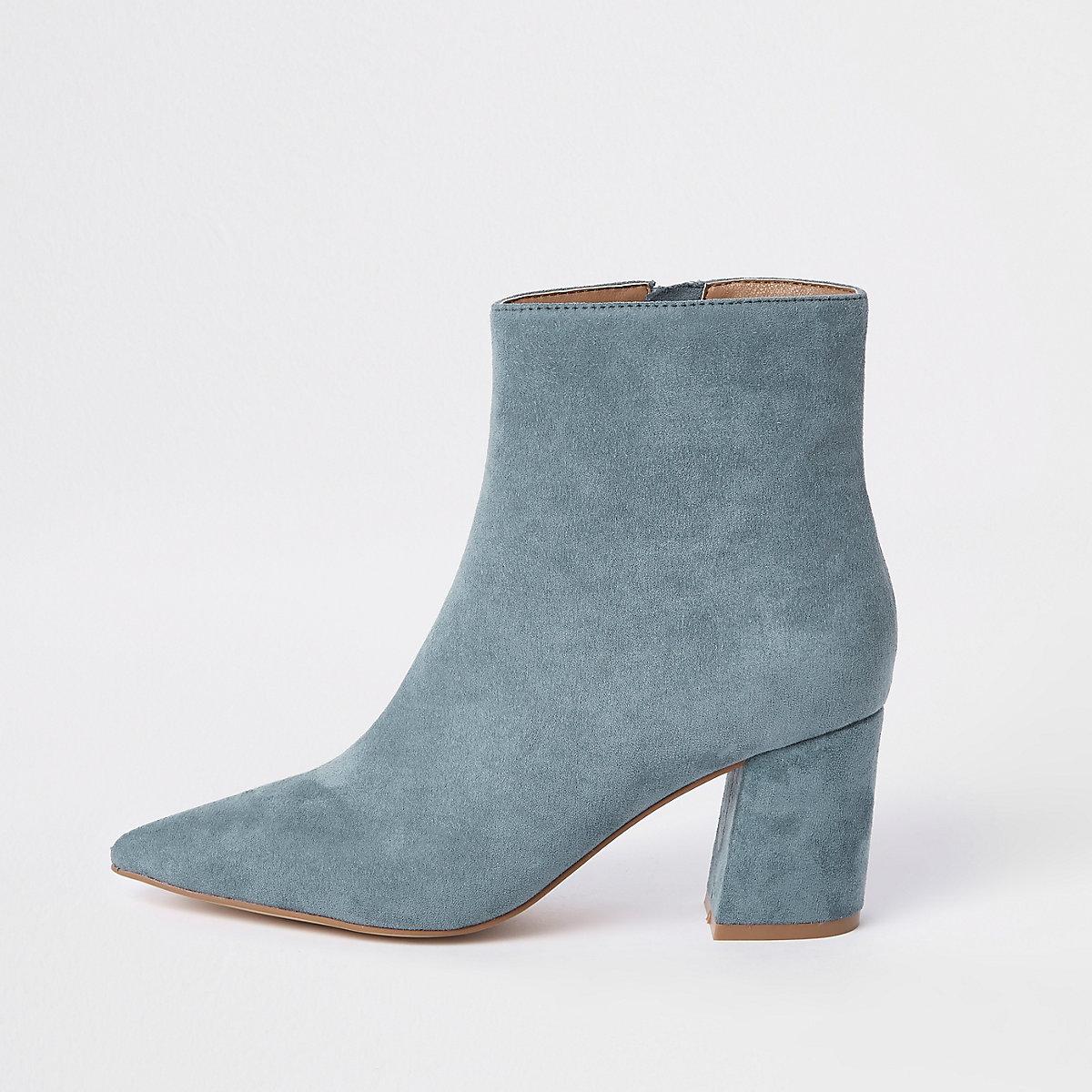Light blue pointed block heel boots