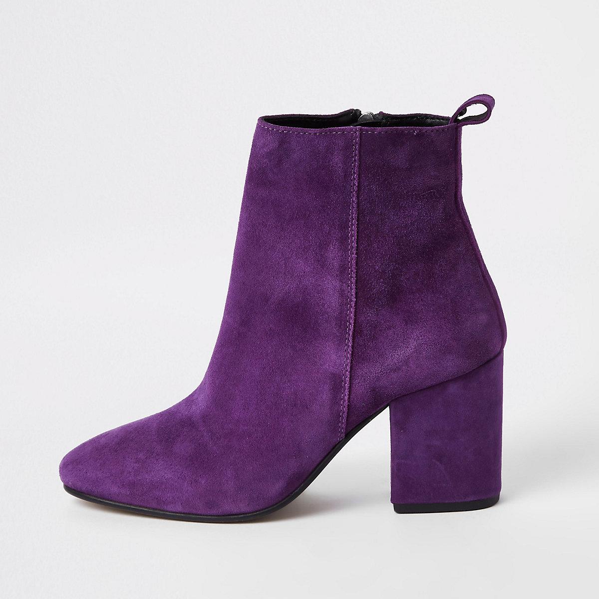 Purple suede block heel boots