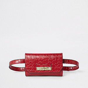 Red RI branded croc mini belted bum bag