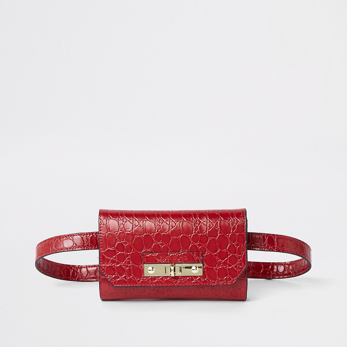 Red croc lock front belted bum bag