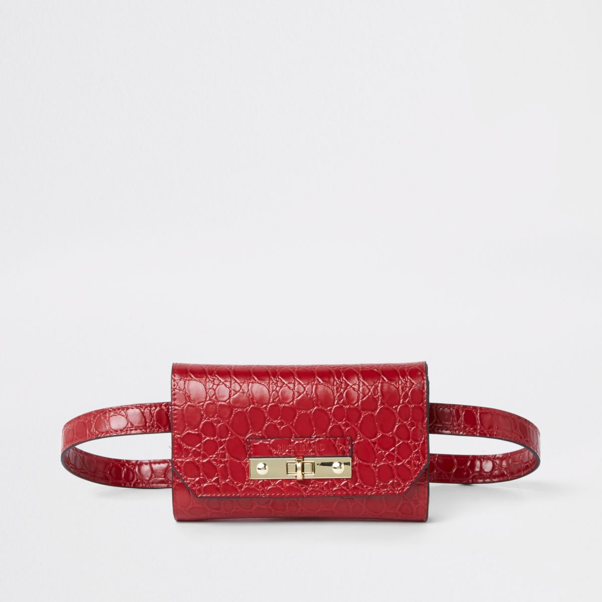 Red RI branded croc mini belted bum bag