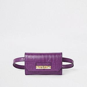 Purple croc lock front belted bum bag