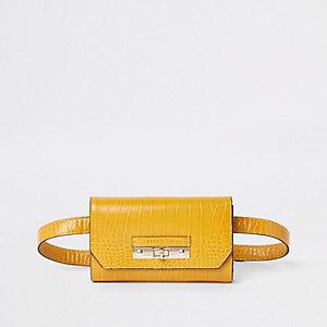 Mini sac banane jaune effet croco à logo RI