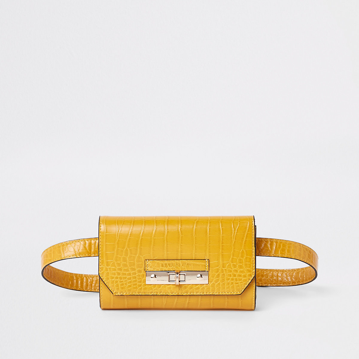 Yellow croc lock front belted bum bag