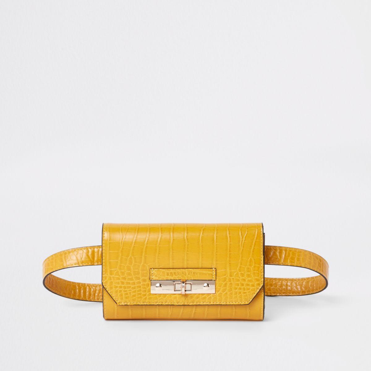 Yellow RI branded croc mini belted bum bag