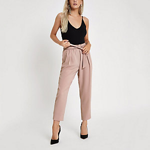 Petite pink tapered leg pants