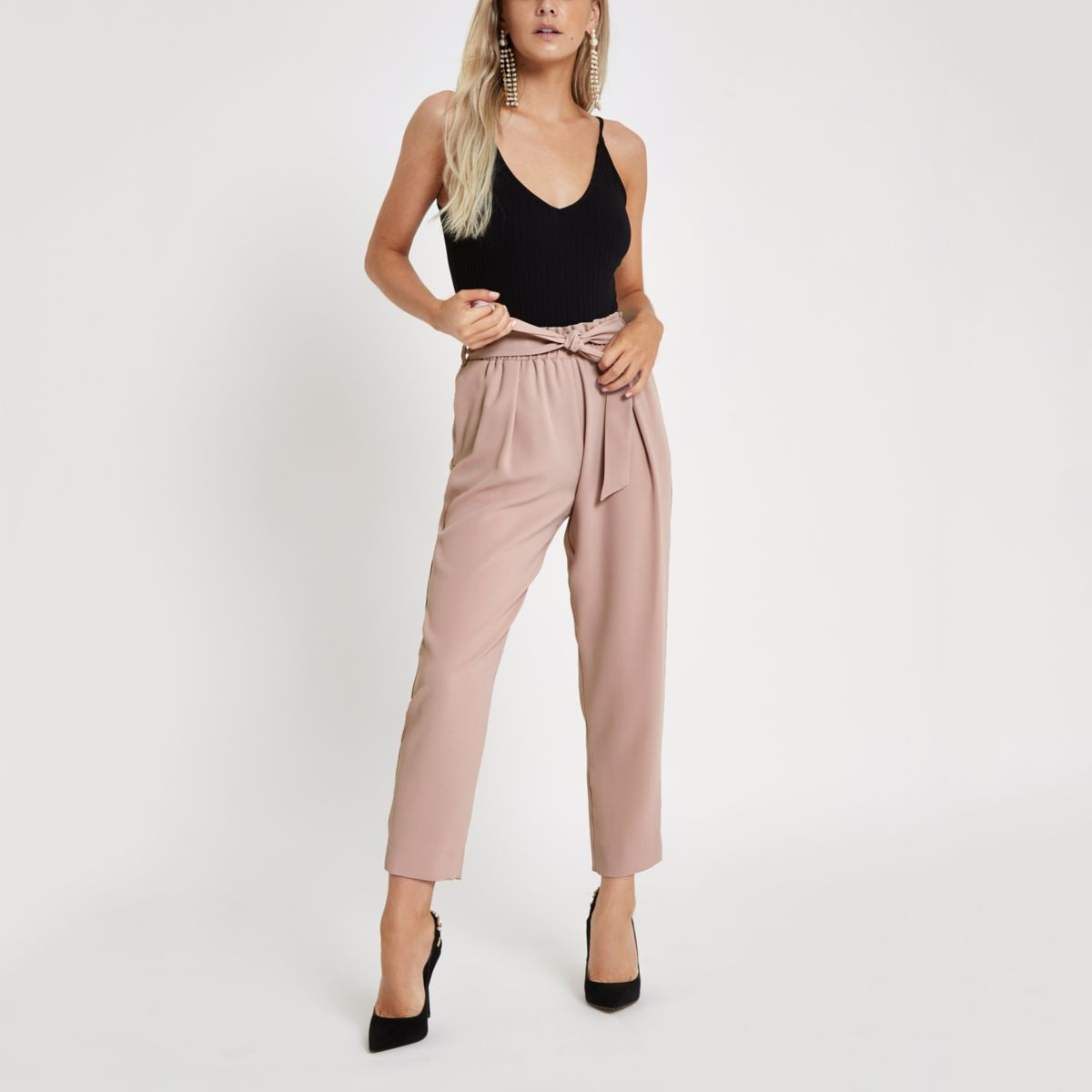 Petite pink tapered leg trousers