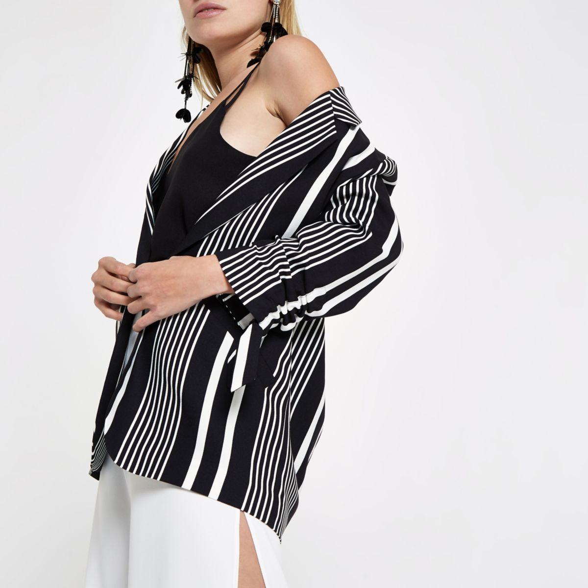 Black stripe print rouche sleeve blazer