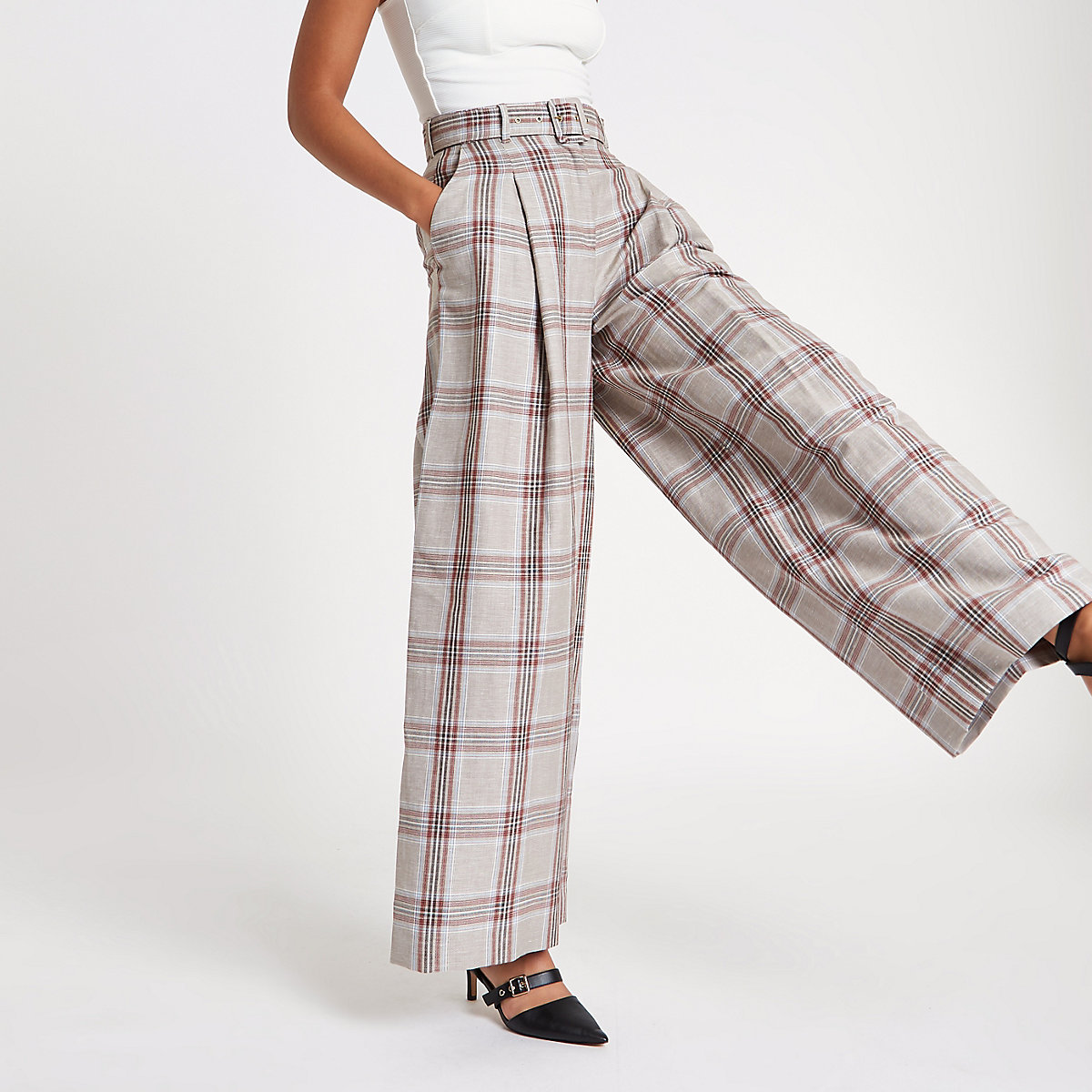 Beige check wide leg belted pants