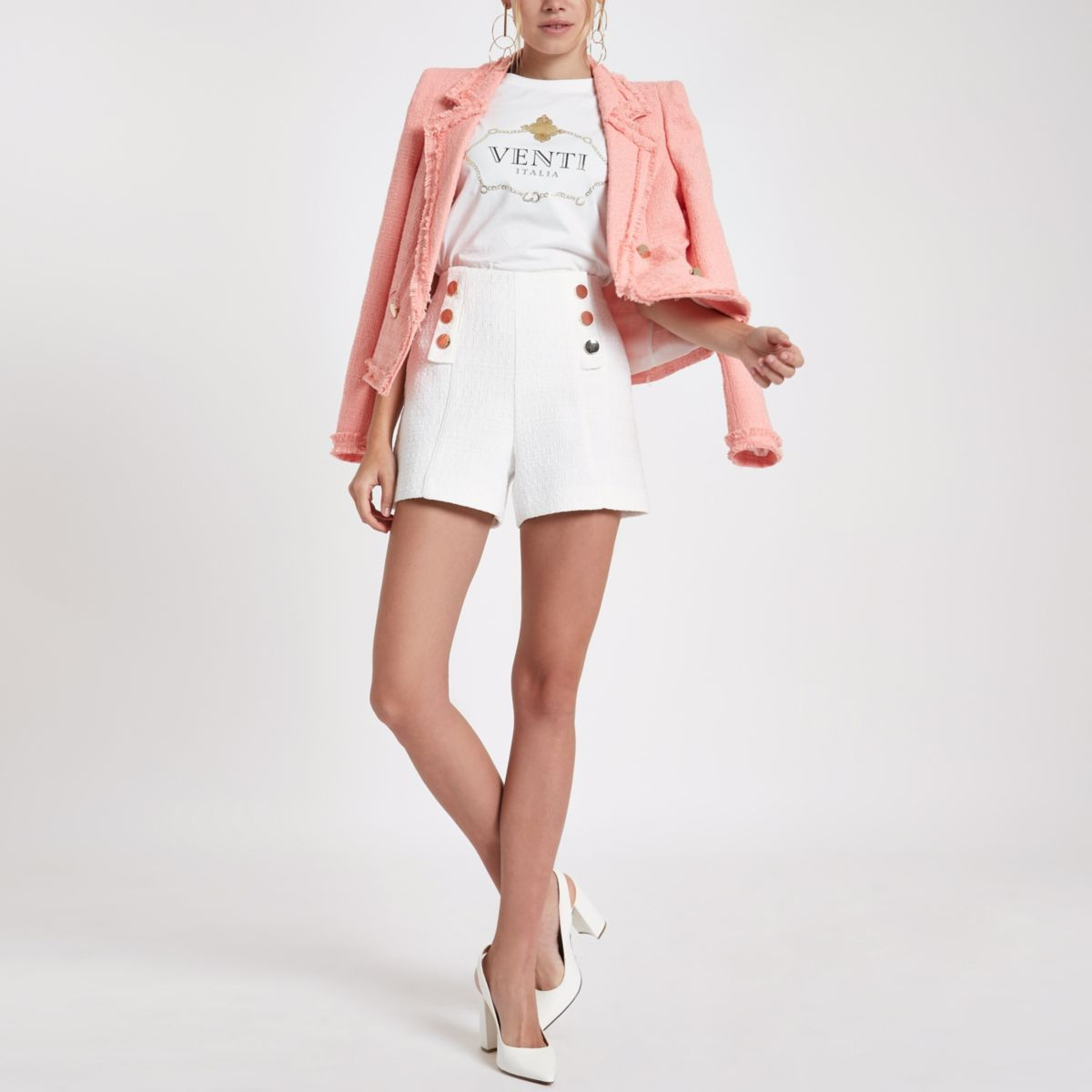 White tweed button front shorts