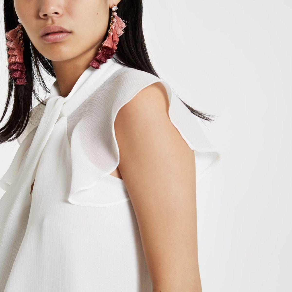 White twist neck frill sleeve top