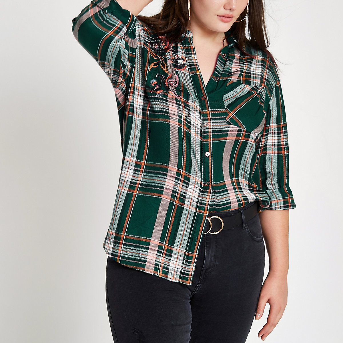 Plus green check embellished shirt