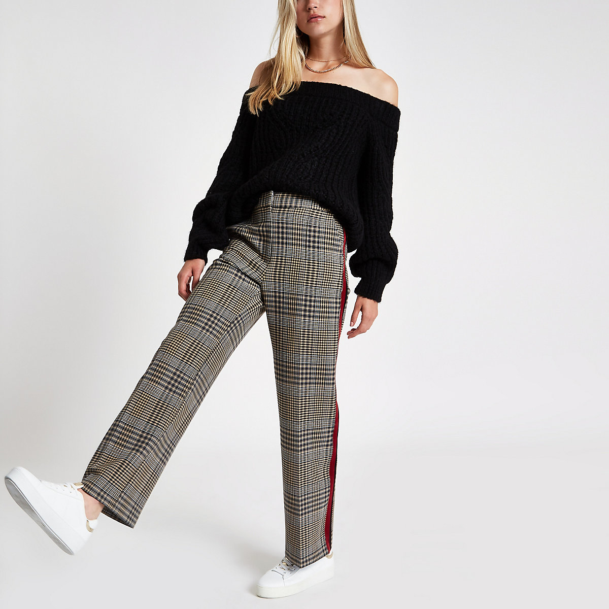 Black stitch knit bardot sweater