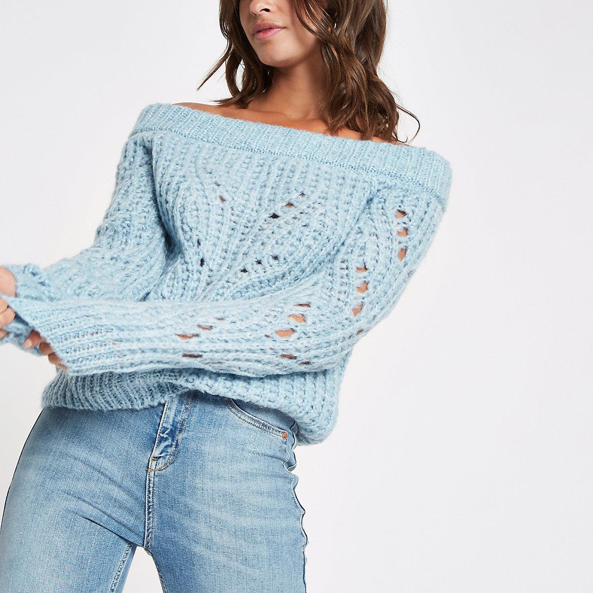 Blue knit bardot sweater
