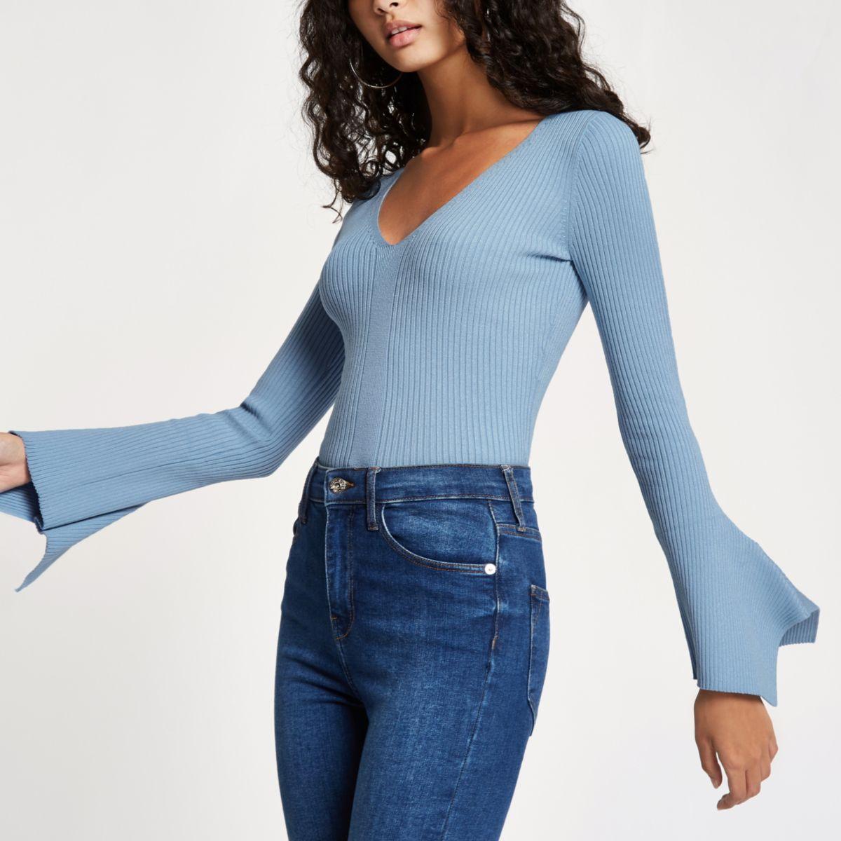 Blue knit rib V neck flute sleeve top