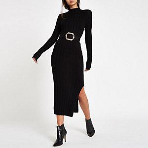 Schwarzes Bodycon-Kleid mit Rollkragen