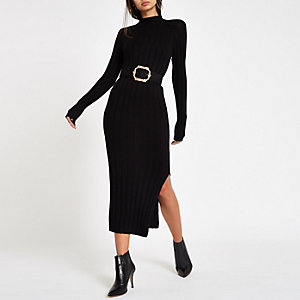 Black ribbed knit roll neck bodycon dress