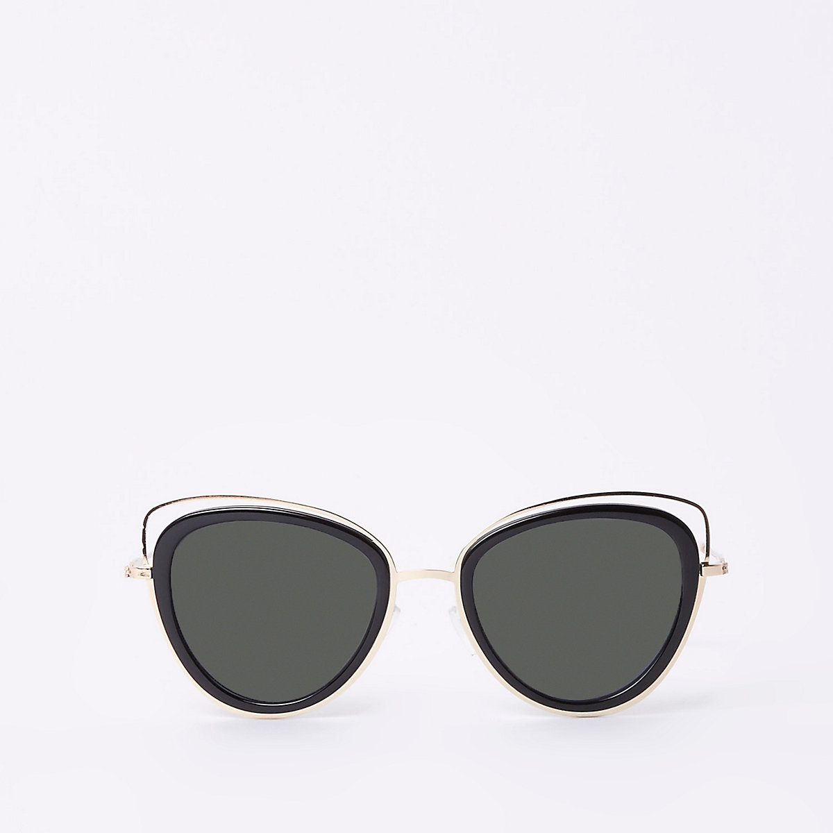 Gold tone cat eye cut out sunglasses